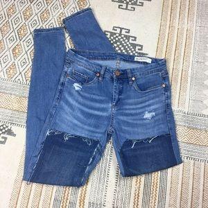BlankNYC Distressed Patchwork Skinny Jeans